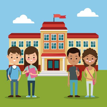 volver al grupo de la escuela los estudiantes niños y niñas Ilustración Vector del edificio de la escuela eps 10