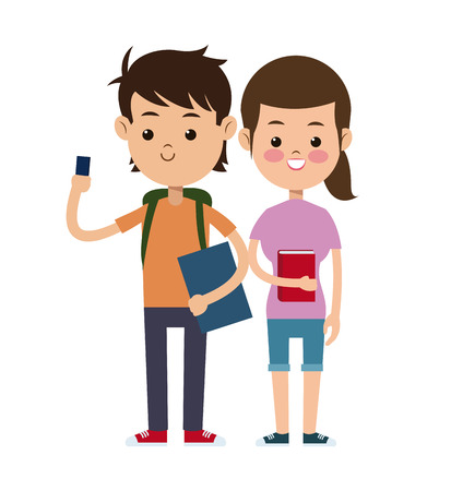 lesson: back to school couple students design vector illustration eps 10