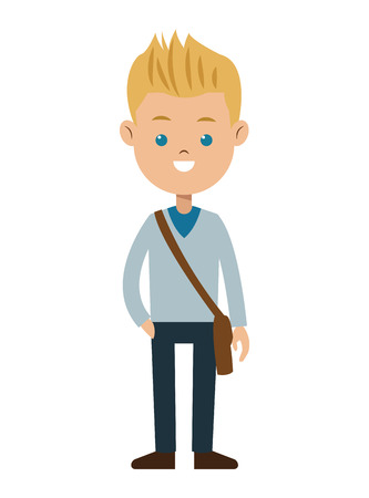 blond boy blue eyes sweater student vector illustration eps 10
