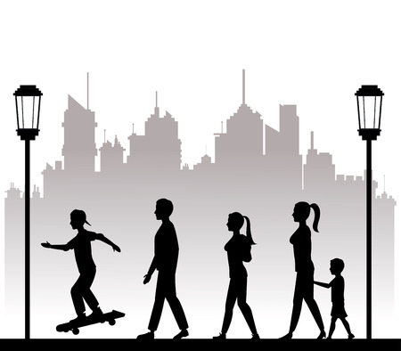 people walking recreation city park lamp postvector illustration eps 10