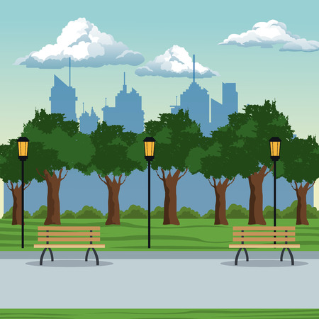 borne fontaine: parc de la ville lampe brench arbres postlight illustration vectorielle eps 10