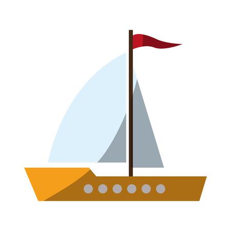 Sailboat icon. Transportation vehicle travel trip theme. Isolated design. Vector illustration