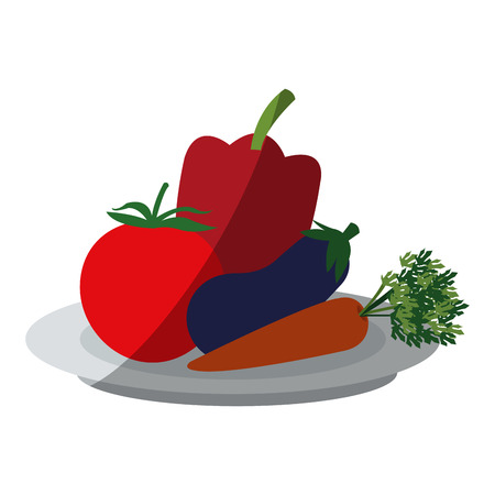Eggplant tomato and pepper icon. Healthy organic fresh and natural food theme. Isolated design. Vector illustration