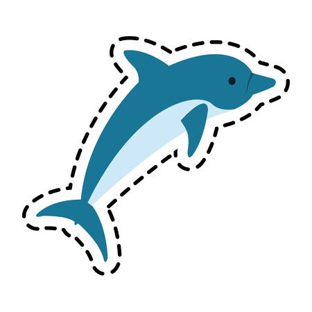 ecosistema: icono de los delfines. Sea la fauna de los ecosistemas y la vida tema del océano. diseño aislado. ilustración vectorial