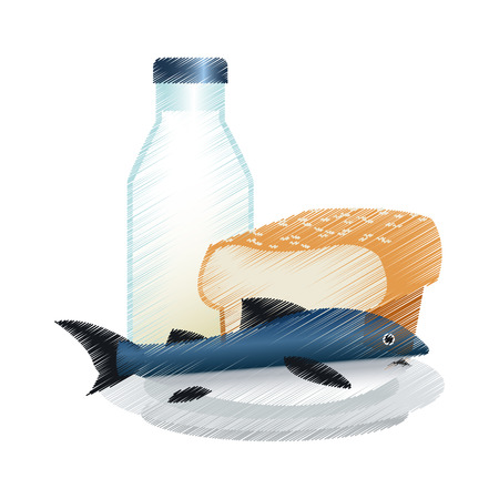 Bread milk and fish icon. Healthy organic fresh and natural food theme. Isolated design. Vector illustration