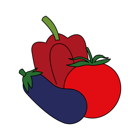 Eggplant pepper and tomato icon. Healthy organic fresh and natural food theme. Isolated design. Vector illustration