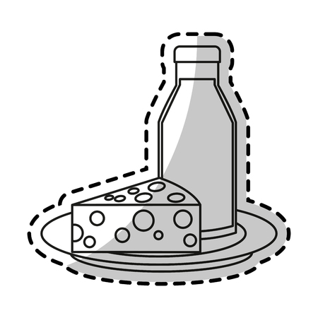 Milk and cheese icon. Healthy organic fresh and natural food theme. Isolated design. Vector illustration