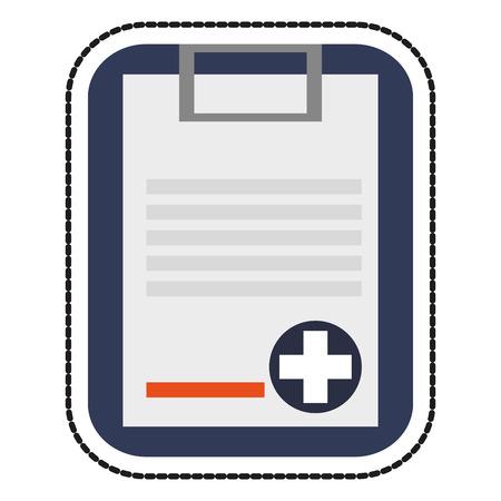 historia clinica: icono de la historia médica. hospital de atención médica y de salud es el tema de emergencia. diseño aislado. ilustración vectorial