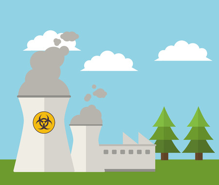 vector nuclear: nuclear plant energy power landscape vector illustration eps 10 Illustration