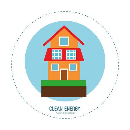 clean energy: clean energy house green home vector illustration eps 10 Illustration