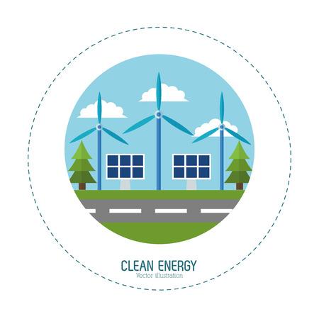 solar energy panel wind turbines vector illustration eps 10