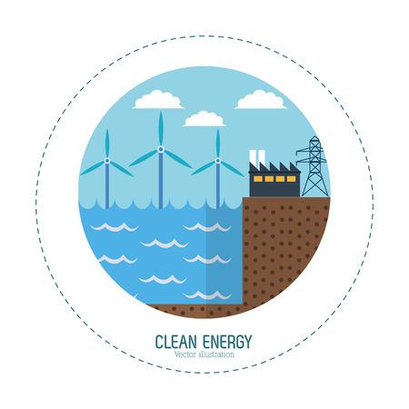 clean energy: clean energy tidal energy factory vector illustration eps 10 Illustration