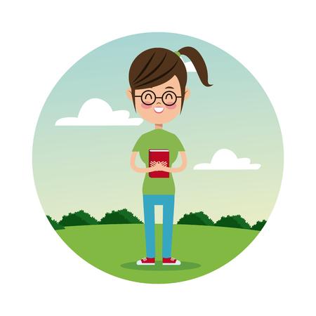 back school girl happy student landscape background vector illustration eps 10 Illustration