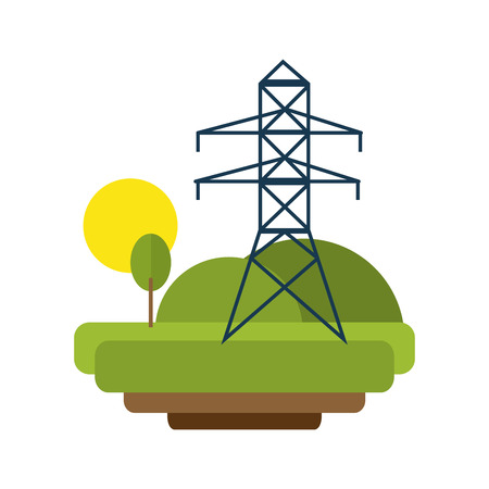 torres eléctricas: landscape with electricity lines vector illustration eps 10