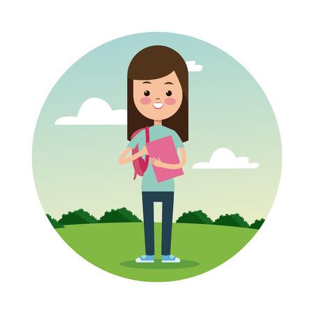 brunette: back school girl brunette student landscape background vector illustration eps 10