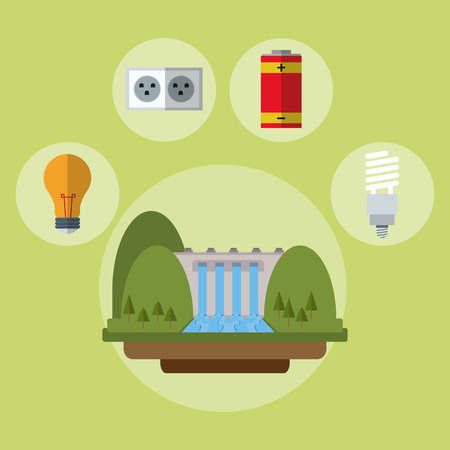 hydroelectric power station: hydroelectric power station battery bulb ecology vector illustration eps 10