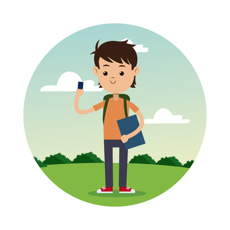 back school boy smartphone student landscape background vector illustration eps 10