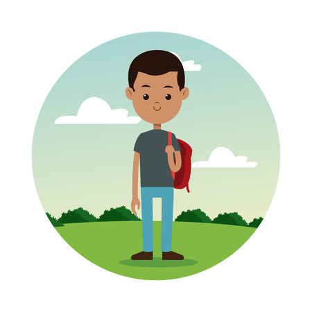back school boy gray shirt student landscape background vector illustration eps 10 Illustration