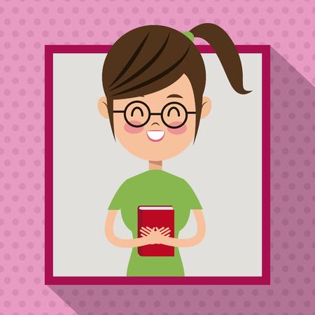 girl glasses: girl glasses smile book student frame dot shadow background vector illustration eps 10