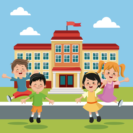 students group happy back school building vector illustration eps 10