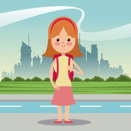 diadem: girl diadem bag urban background vector illustration eps 10