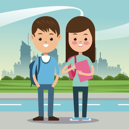 two students with bag book urban background vector illustration eps 10