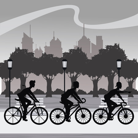 younger: silhouette group younger riding bycicle park city background vector illustration eps 10 Illustration