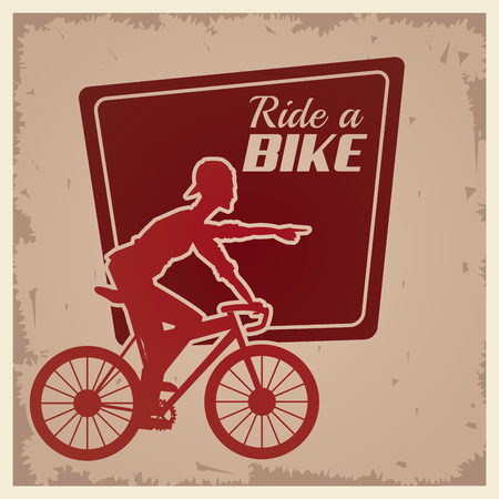 wheal: poster vintage ride a bike cyclist silhouette vector illustration eps 10 Illustration