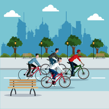 group person young riding bike park city background vector illustration eps 10 Stock Illustratie