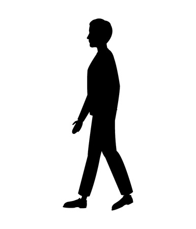 side view: silhouette man walking side view vector illustration eps 10