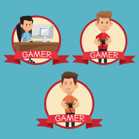 handheld device: collection gamers devices playing banner blue backgroung vector illustration eps 10