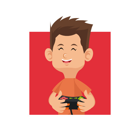 joypad: cartoon boy playing video game with control console red square vector illustration eps 10 Illustration