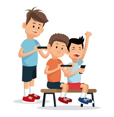 teenagers playing video game smartphone vector illustration eps 10 Illustration