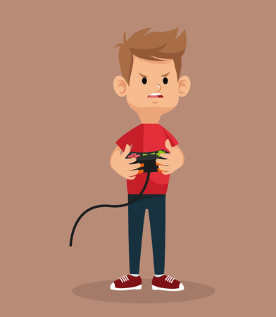 guy mad standing with game controller vector illustration eps 10