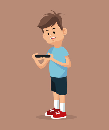 fraternity: young gamer standing with smartphone vector illustration eps 10