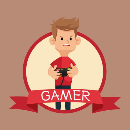 gamer red tshirt control banner brown backgroung vector illustration eps 10 Ilustracje wektorowe
