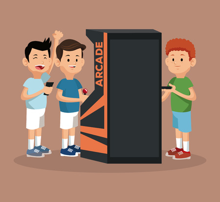 automat: friends video gaming arcade machine and smartphone vector illustration eps 10