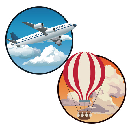 two circles with plane blue sky and sunset sky airballoon vector illustration eps 10