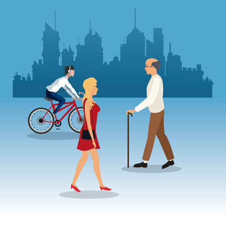walking woman elder man young ride bike city background city background vector illustration eps 10