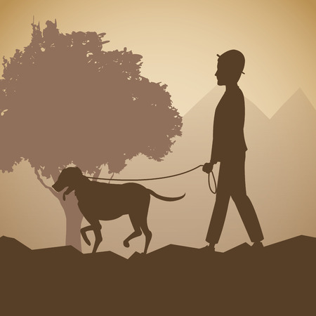 prairie dog: silhouette man and dog walk forest background vector illustration eps 10
