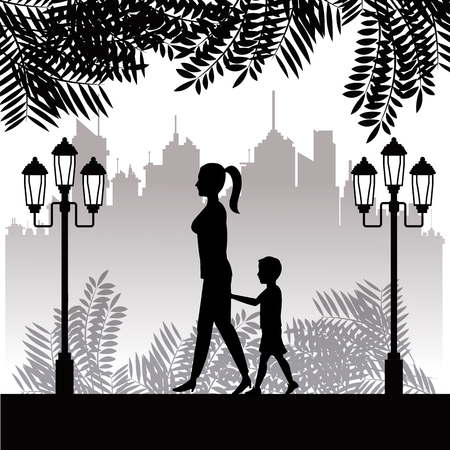 child walking: silhouette woman and child walking park twon background