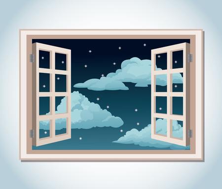 Zimmer Fenster Nachthimmel Sterne Wolken Vektor Illustration eps 10