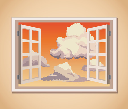 view window: window with sunset view clouds vector illustration eps 10 Illustration