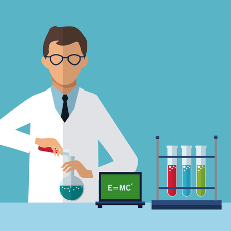 medical scientist experiment laboratory chemistry vector illustration eps 10 Illustration