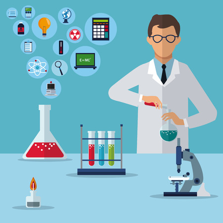 científico médico experimento de investigación de laboratorio ilustración vectorial eps 10