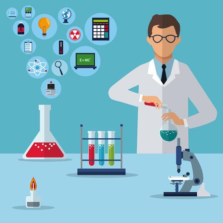 medizinische Wissenschaftlerforschungsexperimentlaborvektorillustration ENV 10