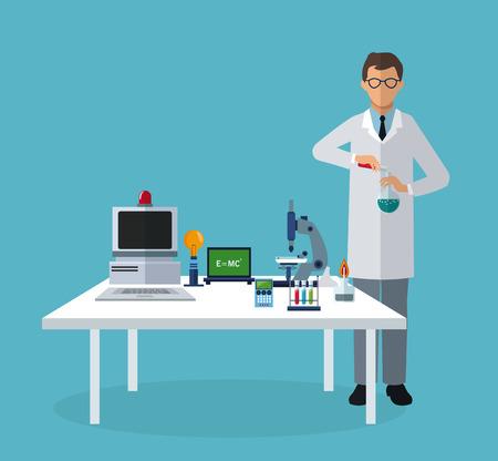 medical scientist experiment laboratory elements on table vector illustration eps 10 Illustration