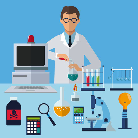 medical scientist experiment laboratory working vector illustration eps 10
