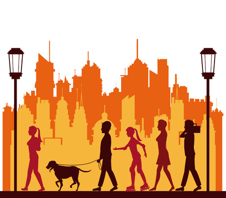colored people walking city park lamp postvector illustration eps 10 Illustration