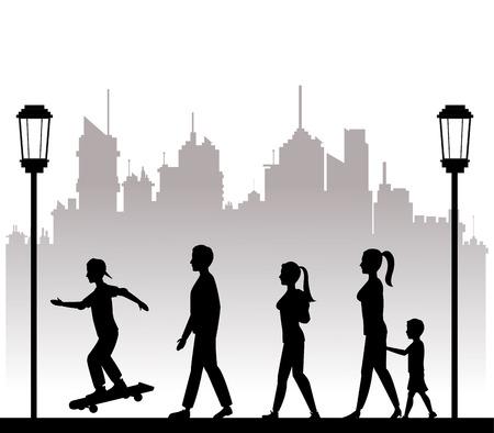 bench alone: people walking recreation city park lamp postvector illustration eps 10